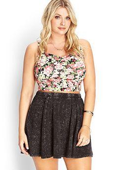 Plus Size Mineral Wash Skater Skirt | Forever 21 PLUS - 2000067349