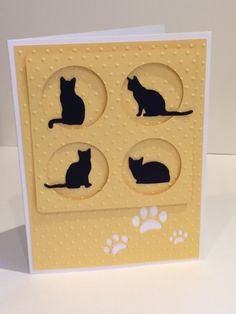 Die cut and embossed CAT SILHOUETTE NOTECARD Std card size: 4 x 5 Inside: Blank All Bellissima cards are created with high quality - Tap the link now to see all of our cool cat collections! Scrapbooking Chat, Scrapbook Cards, Dog Cards, Kids Cards, Baby Cards, Pretty Cards, Cute Cards, Impression Obsession Cards, Pet Sympathy Cards