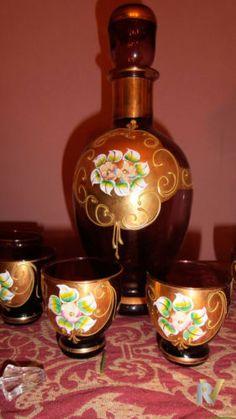 Sada na likér • hnědé zlacené sklo, malované smaltem, Murano