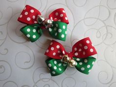CHRISTMAS Jingle bells hair bow pigtail Red Green U PICK ONE baby toddler Cici's #Cicis