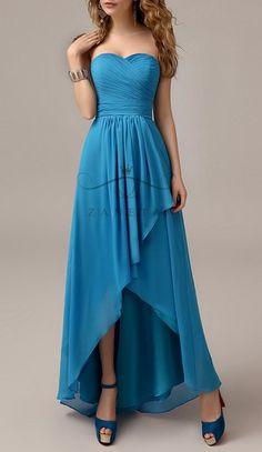 Blue Dress Bridesmaid Promotion: Zaneta Blue Strapless Sweetheart High Low Ruffles Pastel Chiffon Floor Length Bridesmaid Dress 2015 for Adult and Junior.