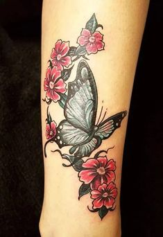 If you're looking for 3d, tiny, large, geometric, dreamy, delicate tattoo ideas in black ink or color, let these butterfly designs inspire your next piece of body art. Butterfly With Flowers Tattoo, Tribal Butterfly Tattoo, Butterfly Tattoo Meaning, Butterfly Tattoo On Shoulder, Butterfly Tattoos For Women, Butterfly Tattoo Designs, Butterfly Design, Tribal Rose Tattoos, Tattoo Shoulder