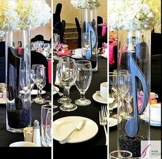 Our musical note centrepieces from our client's wedding. Follow us on IG @byouniqueevents #musicalnotes #musicalnotecentrepieces