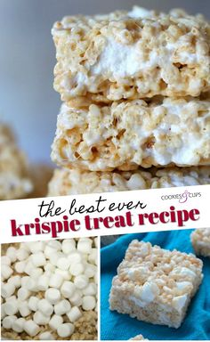 The Best Rice Krispie Treat Recipe ever So gooey and packed with extra marshmallows with a tiny pinch of salt to make them the perfect no bake treat cookiesandcups krispietreats marshmallows marshmallowtreats marshmallowsquares nobake Rice Recipes For Dinner, Dessert Recipes, Desserts, Fudge Recipes, Best Rice Krispie Treats Recipe, Best Rice Crispy Treat Recipe, Dairy Free Rice Krispie Treats, Microwave Rice Krispie Treats, Christmas Rice Krispie Treats