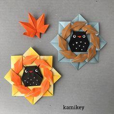 """黒ふくろうバージョン。お腹にもようを描くとトトロみたい⁈  葉っぱリース 7.5㎝×7.5㎝、ふくろう 10㎝×10㎝の折り紙を使用 ✳︎ 作り方動画は、YouTubeの""""kamikey origami""""でご覧ください(プロフィールにリンクがあります) ✳︎ Leaf wreath,owl designed by me Tutorial on YouTube """"kamikey origami """" #origami #折り紙 #kamikey"""