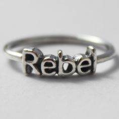 Sterling Silver Rebel stacking ring by HeartCoreDesign on Etsy, $16.50