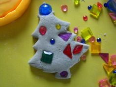 Play dough trees and glitter pine cone ornaments