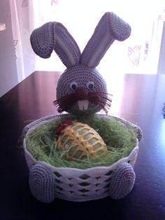 Koszyk - zając z jajem, szydełko