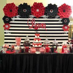 New Birthday Cake Black Red Party Ideas Ideas Black And White Party Decorations, Black Party Decorations, Party Centerpieces, Birthday Party Decorations, Red Birthday Party, Sweet 16 Birthday, Cake Birthday, Red Party Themes, Party Ideas