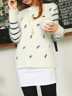 Lapel Embroidery Cat Sweater In White - Choies.com
