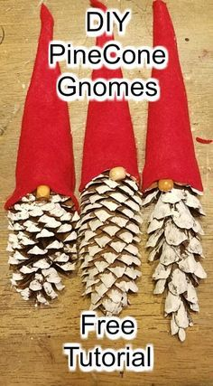 Diy pinecone gnomes diy pinecone flowers with stems Christmas Ornament Crafts, Handmade Christmas Decorations, Christmas Crafts For Kids, Xmas Crafts, Rustic Christmas, Simple Christmas, Christmas Holidays, Christmas Projects, Christmas Sock