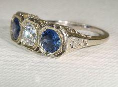 Fantastic Art Deco Sapphire and Diamond Ring, c. 1920. Fabulous!