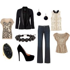 Jeans, Blazer, Gold Tops and Black Accessories, created by amberparris.polyvore.com