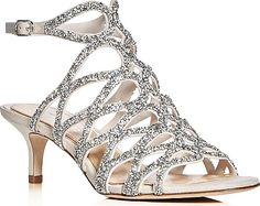 Introduce yourself to the Imagine Vince Camuto Kami Crystal Embellished Caged Low Heel Sandals. Hip sandals by Imagine Vince Camuto available in Silver. Be good to yourself in these sandals made by the designer Imagine Vince Camuto. Bling Sandals, Low Heel Sandals, Caged Sandals, Silver Sandals, Silver Shoes, Low Heels, Gladiator Sandals, Shoes Sandals, Footwear