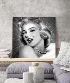 tableau-marilyn-monroe-portrait-noir-et-blanc-2 Tableau Pop Art, Marilyn Monroe, Mona Lisa, Artwork, Black And White Drawing, Impressionism, Toile, Work Of Art, Auguste Rodin Artwork