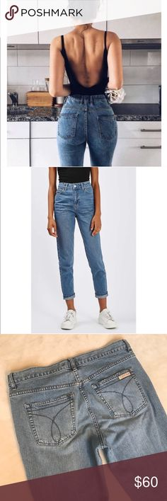 Calvin Klein High Waisted Mom Jeans Get the look of the first two pics with these high waisted Calvin Klein jeans! They are above ankle length so perfect for rolling them up for a cute look! Perfect wash color! Calvin Klein Jeans Ankle & Cropped