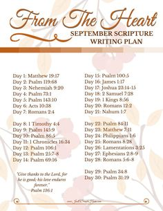 From The Heart Scripture Writing Plan