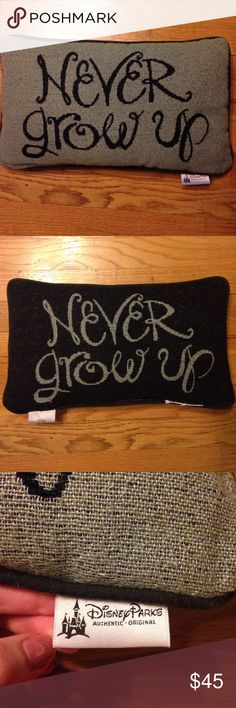 "Disney Parks Peter Pan Never Grow Up Pillow Peter Pan ""Never Grow Up"" pillow. Purchased at Walt disney world in Florida. I cut the big annoying tag off (as seen in the last picture). Measurements are 9 x 16 inches. Disney Other"