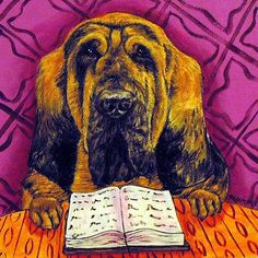 bloodhound reading a book dog art tile coaster gift