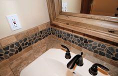 image of river rock in bathroom river rock backsplash design ideas