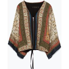 Zara Printed Kimono With Fringing And Zip ($40) ❤ liked on Polyvore featuring kimono, cardigans / kimonos, jackets, outerwear and multicoloured