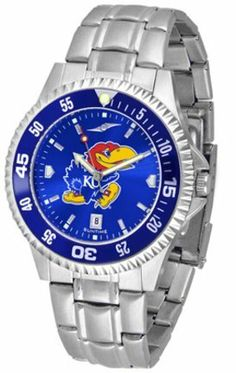 Kansas Jayhawks Competitor AnoChrome Men's Watch with Steel Band and Colored Bezel by SunTime. $91.67. Showcase the hottest design in watches today! A functional rotating bezel is color-coordinated to compliment the NCAA Kansas Jayhawks logo. A durable, long-lasting combination nylon/leather strap, together with a date calendar, round out this best-selling timepiece.The AnoChrome dial option increases the visual impact of any watch with a stunning radial reflection similar ...