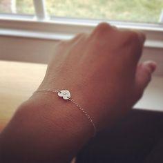 Tiny Initial Heart Bracelet  ,Sterling Silver by cocowagner on Etsy, $19.00