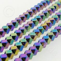 Hematite - Faceted Cube 3mm - Rainbow Metallic Pink, Electric Blue, Different Shapes, Stone Beads, Natural Stones, Cube, Plating, Rainbow, Colours