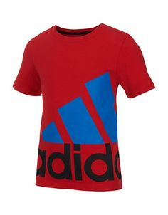 Christmas 2016 gift for our handsome grandson.  Cool sporty tee with an exaggerated brand logo.  ADIDAS Boys 2-7 Logo Tee. Red sz5