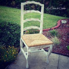 Ladder back chairs with rush seats hand painted in creamy white $275 for 4 chairs on Etsy.com