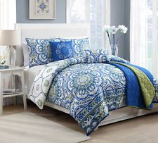 Rich Blue Master Bedroom Bedding Luxury King Size 6 Piece Coverlet Set Bedspread