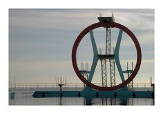 This photo from Rome, Lazio is titled 'The Kursaal Trampolino'. Pier Luigi Nervi, High Diving, Diving Board, Pool Accessories, Old Buildings, Rome, Swimming Pools, Italy, Architecture