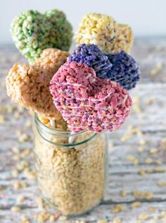 Heart-shaped Rice Krispie Treat Pops | 25 Delectable Valentine's Day Treats