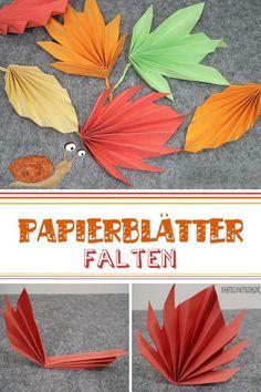 Handicrafts with children - autumn leaves on paper. Origami for children - Basteln im Herbst - # # Origami Ball, Origami Star Box, Kids Origami, Origami Fish, Origami Animals, Leaf Crafts, Fall Crafts, Origami Flowers, Paper Flowers