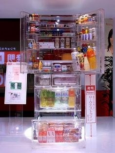 """This transparent refrigerator will show your food to everyone, so make sure that you keep it clean and nicely arranged at all times."""