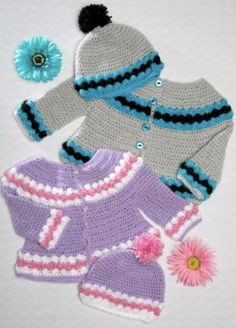 Premier® Everyday® Baby Crochet Cardigan and Cap Set