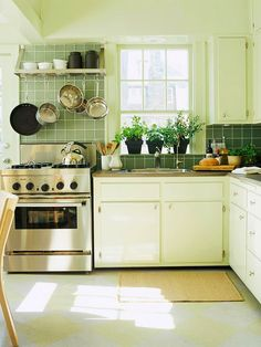 Notice how plain the cupboard doors are?  You probably didn't because the space looks great!  This is a simple and inexpensive way to update your kitchen. From a home staging perspective, this is a great example of how you can update an older kitchen without spending big bucks! Thanks Better Homes & Gardens!