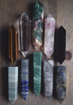 tiger eye, clear quartz, fluorite, pink fluorite, obsidian, green wood jasper, lapis, aventurine, rutilated quartz, and labradorite - polished crystal points
