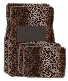 A Set of 4 Universal Fit Animal Print Carpet Floor Mats for Cars / Truck - Leopard Bright fun design Anti-fading coloring Non-skid Backing Protects against spill, stains, dirt and any debris. 2 front floor mats and 2 rear floor mats. Fit most vehicles Leopard Fashion, Animal Print Fashion, Animal Prints, Leopard Outfits, Car Mats, Car Floor Mats, Car Accessories For Girls, Auto Accessories, Car Carpet