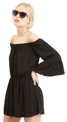 Topshop Crinkly Off the Shoulder Romper (Regular & Petite)