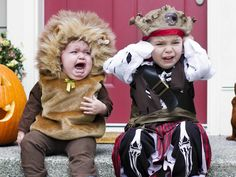 Unhappy toddlers on Halloween and other funny photos - repinned from the TODAY show, My lovely friend Tina's kids!