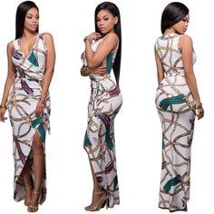5249382b53 Women Sleeveless V-neck Irregular Split Print Maxi Dress 24319 US 8.1 China  Wholesale Clothing