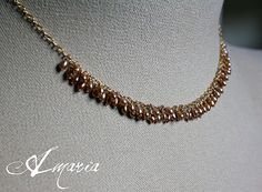 Champagne seed pearl cluster necklace by Amaria #boebot #etsybot #handmadebot