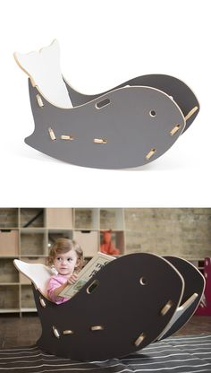 Whale rocking chair for nautical-themed nursery or kid's room. So whimsical! Cnc Projects, Woodworking Projects, Karton Design, Baby Furniture, Cheap Furniture, Wooden Furniture, Discount Furniture, Furniture Sets, Wood Toys