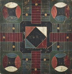 Painted pine Parcheesi gameboard, 19th c., 19'' x 18 3/4''.
