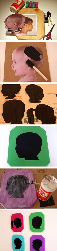 tuTORIal: DIY Vintage Pop Silhouettes -- put on colorful scrap paper, place in frame (painted or plain), hang on wall :) I put these up with hooks under each in my laundry room for kids coats and book bags! Kids Crafts, Cute Crafts, Crafts To Do, Arts And Crafts, Mothers Day Crafts For Kids, Paper Crafts, Diy Projects To Try, Craft Projects, Photo Projects