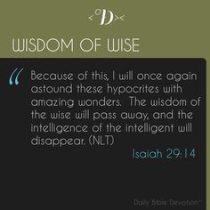 How heavily do you lean upon wisdom?  Leaning on wisdom can be helpful but sometimes it can be harmful to our faith.  Sure, it's logical to take out an insurance policy, but are you depending on that policy for security when trouble comes or are you looking to Christ to rescue you?  Is the wise decision you're making today leading you to or away from God?  Download this app to get your daily devotions: http://jctrois.com