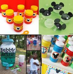 DIY non-toxic Mickey Mouse Bubbles.  Make your own labels / design.  Make bubbles with Eco-friendly dish detergent, distilled water, vegetable glycerin
