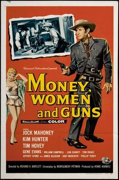 classic posters, free download, graphic design, movies, retro prints, vintage, vintage posters, western, Money, Women, and Guns - Vintage Western Cowboy Movie
