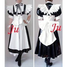 Free Shipping Black-White Sexy Sissy Maid PVC Lockable Dress Uniform Cosplay Costume Tailor-made